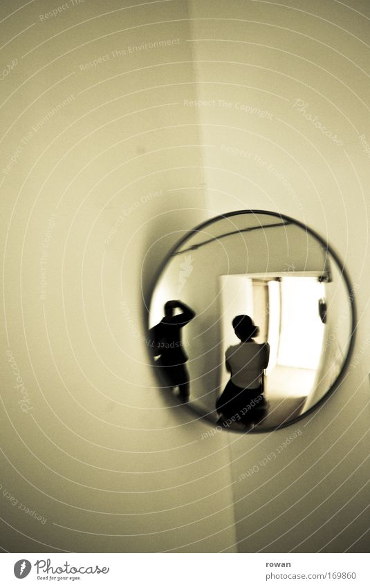 Human being Couple Photography Corner Round Mirror Bizarre Young woman Photographer Take a photo Mirror image Young man