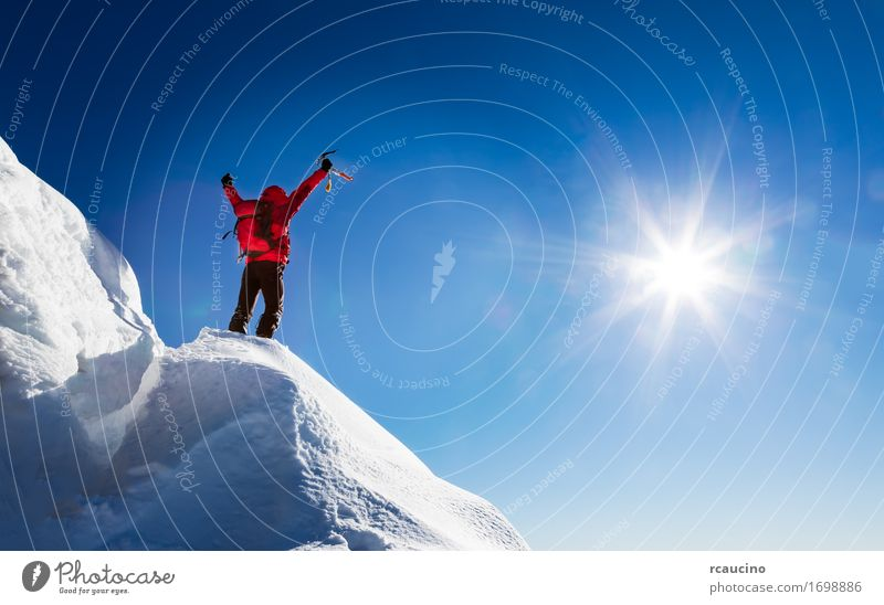 Mountaineer celebrates the conquest of the summit. Joy Vacation & Travel Adventure Freedom Expedition Sun Winter Sports Climbing Mountaineering Success