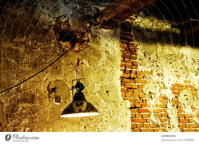 VEB Mönchmühle Wall (barrier) Masonry Wall (building) Plaster Old Construction site Construction lights Floodlight Light Lighting Awareness Bright Cellar