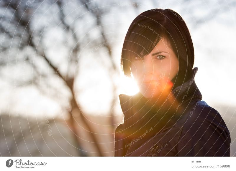 Woman Human being Nature Youth (Young adults) Sky Sun Winter Feminine Style Portrait photograph Landscape Back-light Adults Clothing Sunrise
