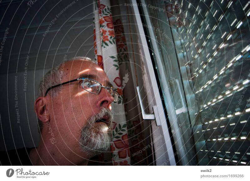 Get binoculars Masculine Head 1 Human being 45 - 60 years Adults Window Venetian blinds Room Ceiling Drape Door handle Observe Looking Curiosity Fear Disbelief