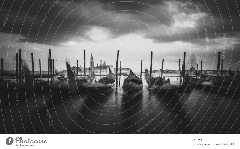 Venice morning Water Clouds Storm clouds Ocean Italy Europe Town Old town Harbour Navigation Boating trip Wait Emotions Patient Calm Tourism Gondola (Boat)