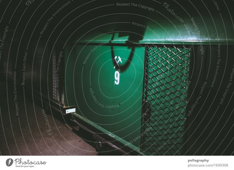 dark Container Gate Concrete Metal Firm Green Colour photo Interior shot Deserted Light