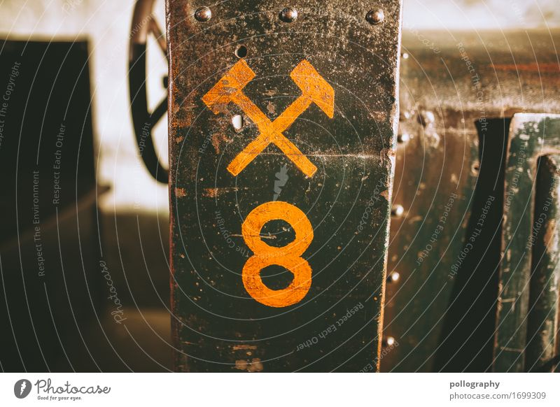 detail Concrete Metal Sign Digits and numbers Graffiti Firm Brown Yellow Colour photo Exterior shot Deserted Copy Space left Copy Space right Copy Space top