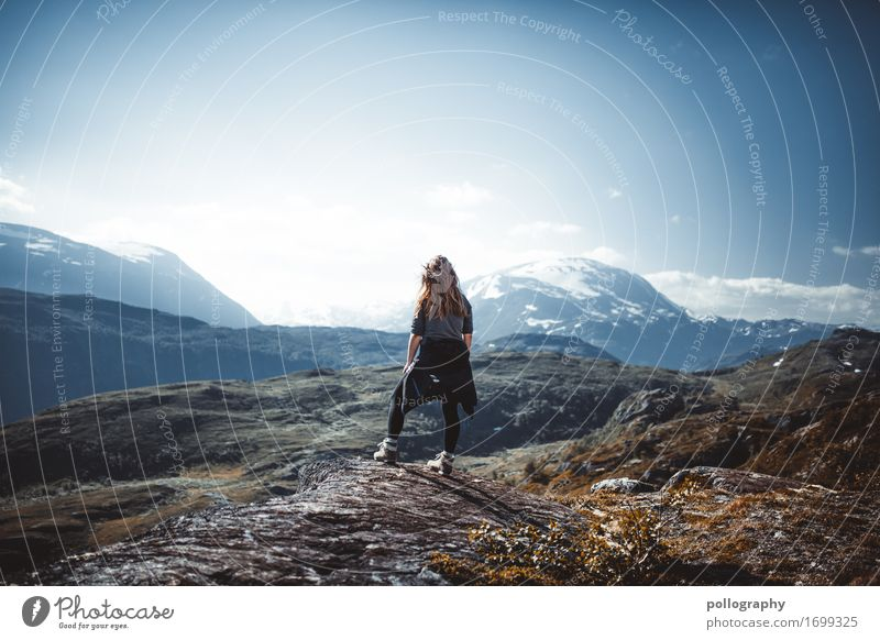 Human being Vacation & Travel Nature Youth (Young adults) Young woman Landscape Relaxation Calm Far-off places Mountain Lifestyle Adults Feminine Tourism