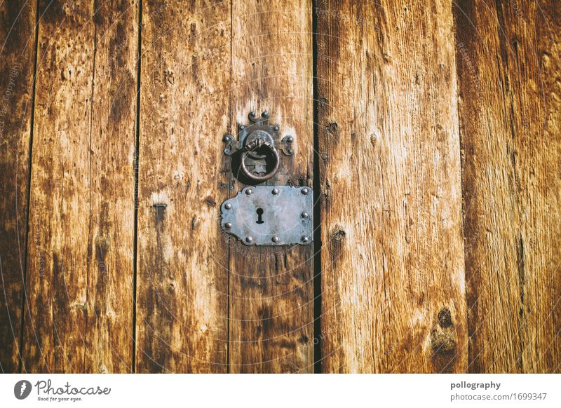 door Art Door Wood Metal Lock Authentic Firm Brown Gray Emotions Closed Colour photo Exterior shot Close-up Deserted Central perspective