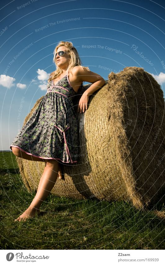 Human being Nature Youth (Young adults) Beautiful Sky Summer Clouds Feminine Grass Happy Think Landscape Contentment Fashion Blonde Adults