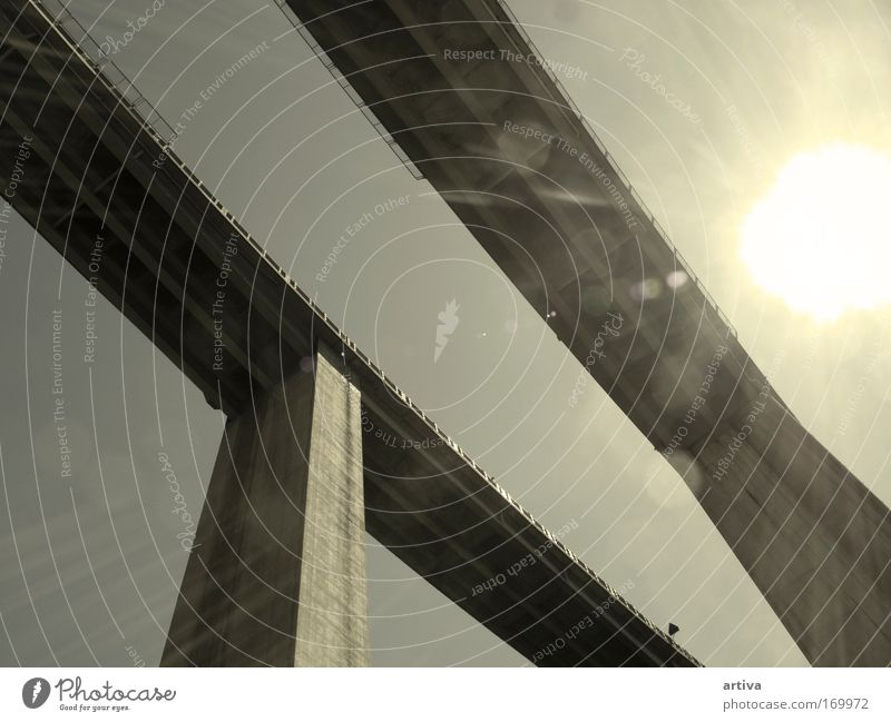 bridge Colour photo Exterior shot Detail Experimental Abstract Deserted Neutral Background Morning Day Light Shadow Contrast Panorama (View) Bridge Transport