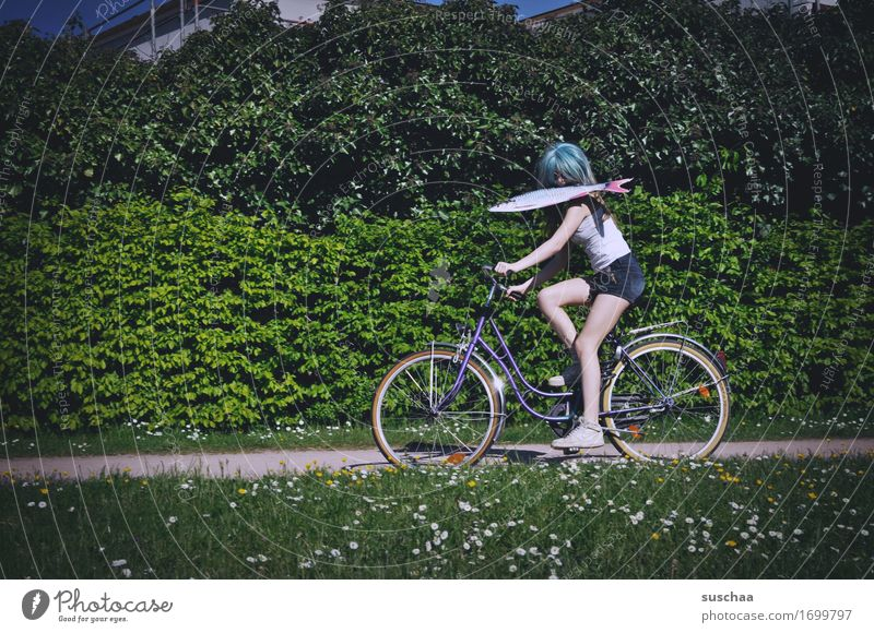 fish & bike II Exterior shot Summer Spring Green Bicycle Cycling Child Youth (Young adults) Young woman Girl Wig Fish Whimsical Strange Action Idea Infancy