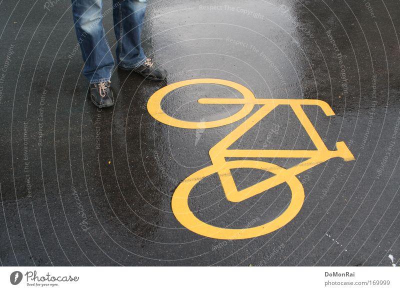 Blue Yellow Street Gray Rain Bicycle Footwear Glittering Wet Europe Jeans Stand Asphalt Switzerland Sign Pants