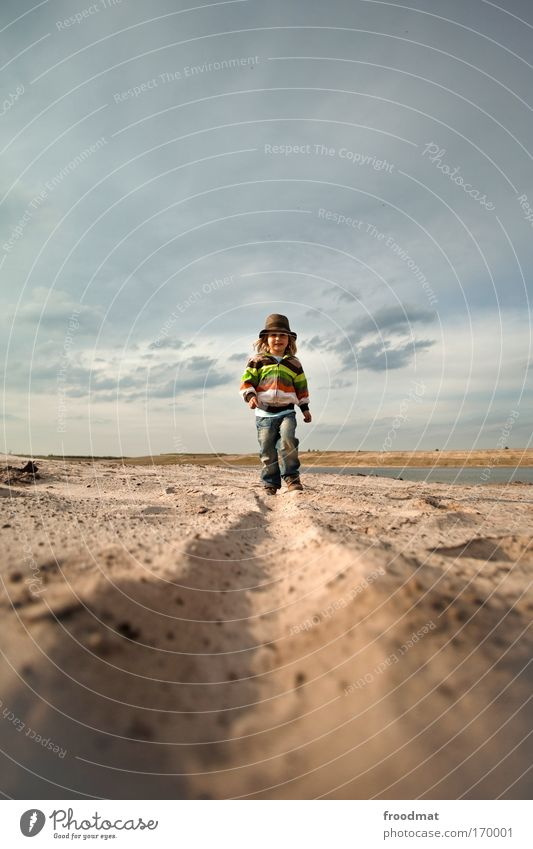 Human being Child Sky Beach Clouds Boy (child) Movement Lanes & trails Sand Happy Infancy Contentment Going Walking Masculine Happiness