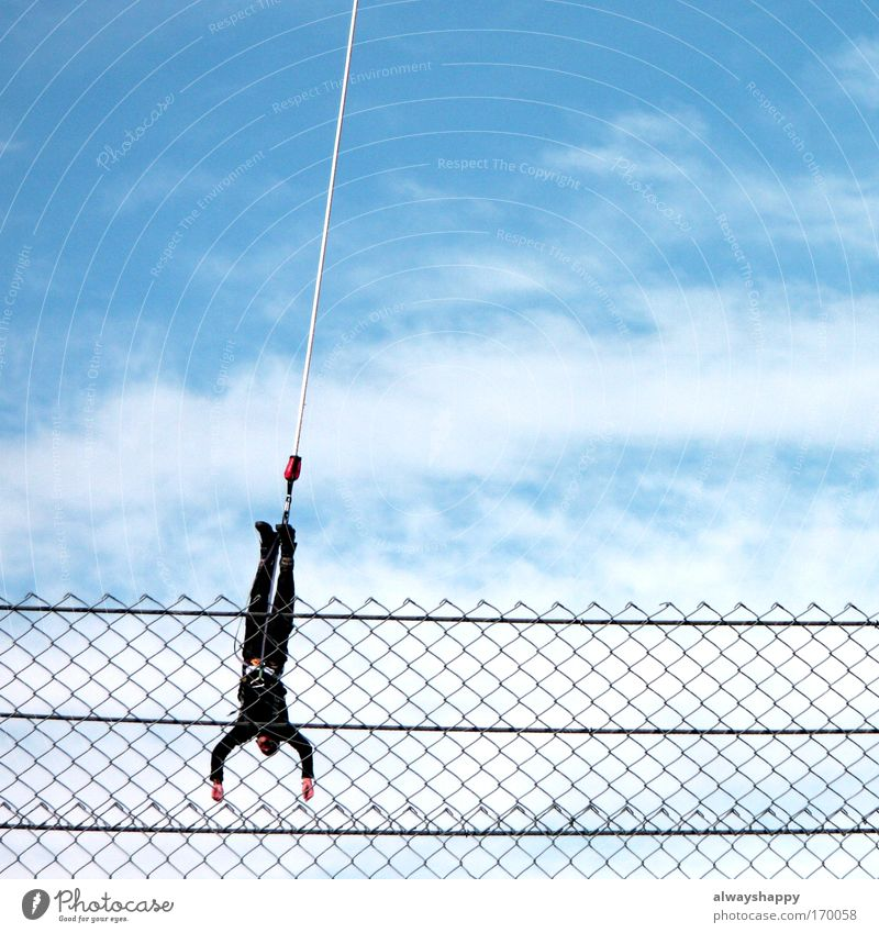 Human being Sky Blue Clouds Black Adults Sports Movement Jump Flying Masculine Free Rope Exceptional Uniqueness