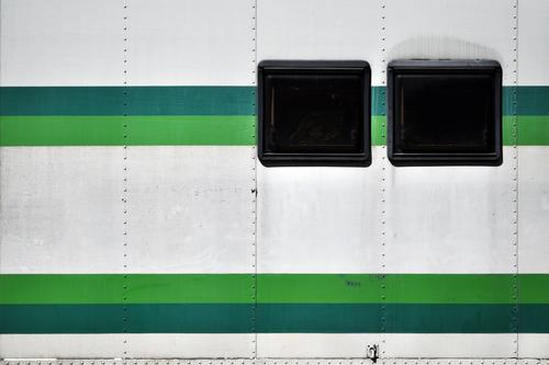 Day Team Colour photo Copy Space left Long shot Style Design Facade Window Means of transport Passenger traffic Mobile home Metal Line Stripe Vacation & Travel