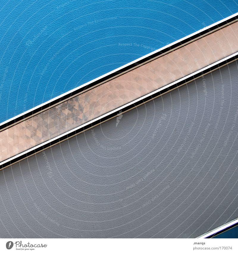 grey-blue diagonal Colour photo Copy Space top Copy Space bottom Lifestyle Elegant Style Design Facade Means of transport Caravan Metal Plastic Line Stripe