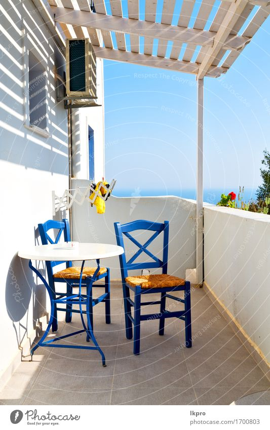 greece old restaurant chair and summer Sky Vacation & Travel Blue Summer White Sun Ocean Flower Landscape Relaxation House (Residential Structure) Street Coast Lifestyle Tourism Watercraft