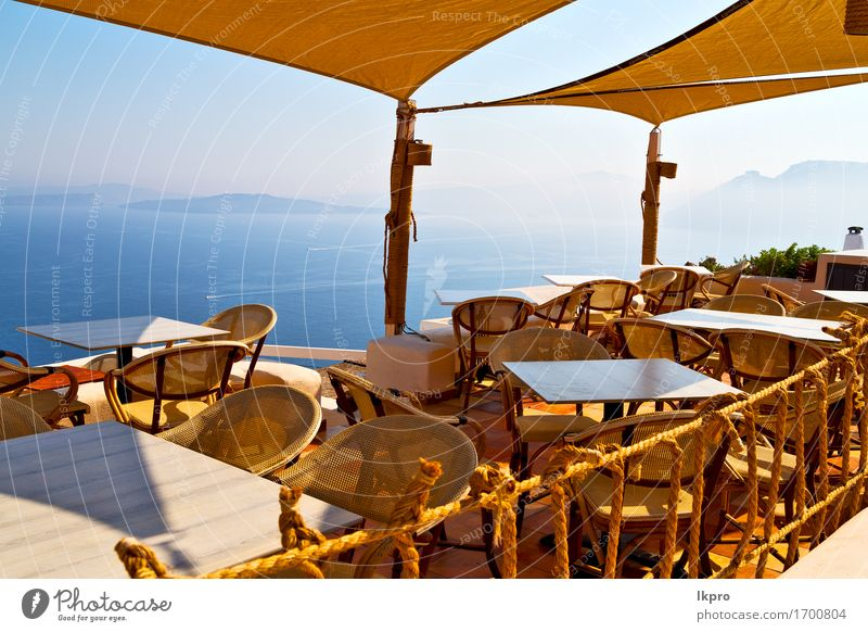 greece old restaurant chair and summer Coffee Lifestyle Shopping Luxury Relaxation Vacation & Travel Tourism Summer Sun Ocean House (Residential Structure)