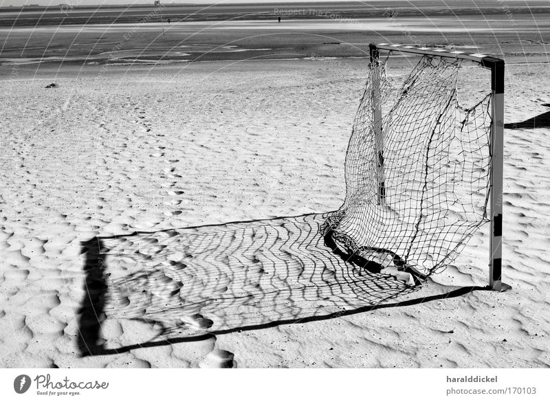 goal Black & white photo Exterior shot Deserted Evening Shadow Contrast Beach Ocean Sports Sporting Complex Football pitch Environment Nature Sand Coast White