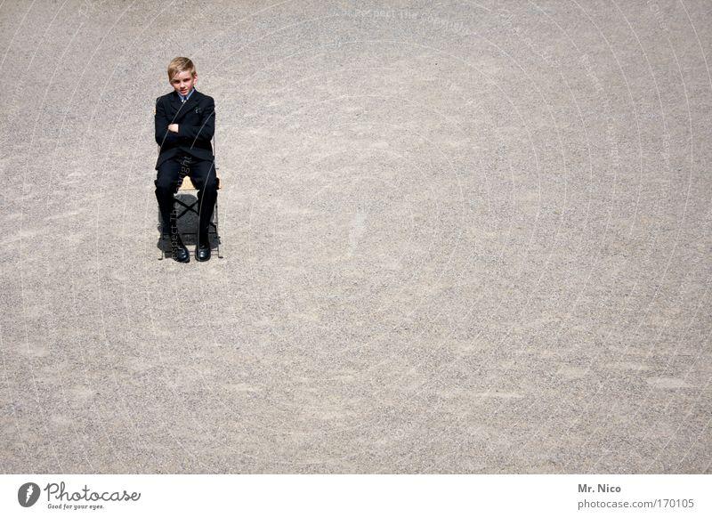 Loneliness Calm Boy (child) Sit Wait Cool (slang) Chair Serene Suit Boredom Brash Chic Pebble Child Communion Christianity