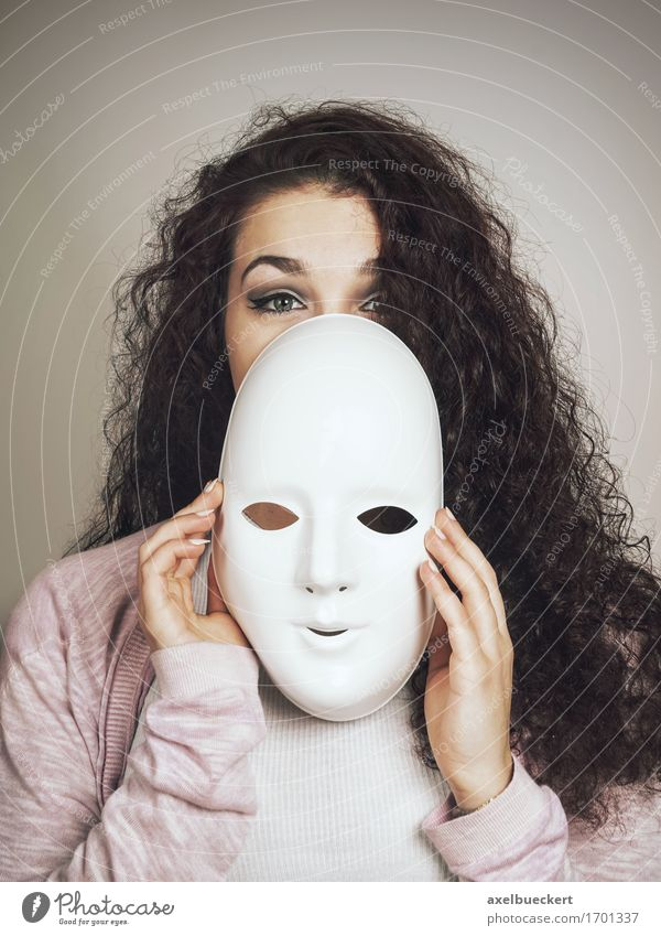 young woman with mask Human being Feminine Young woman Youth (Young adults) Woman Adults 1 18 - 30 years Stage play Black-haired Long-haired Curl Emotions