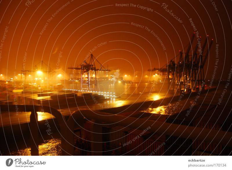 Burchardkai Colour photo Subdued colour Night Light Panorama (View) Wide angle Navigation Container ship Watercraft Harbour On board Movement Financial Industry
