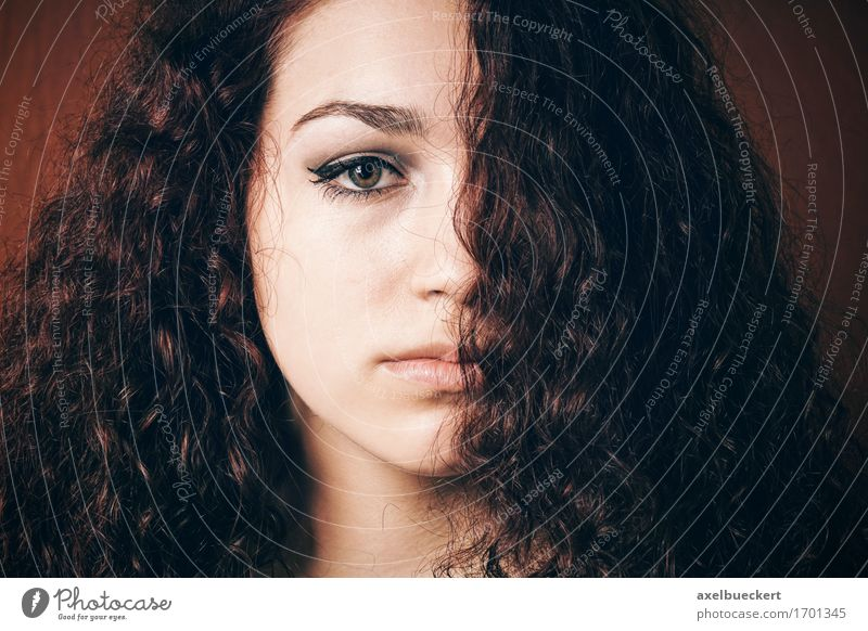 sullen girl with natural curly hair Hair and hairstyles Human being Feminine Young woman Youth (Young adults) Woman Adults 1 13 - 18 years Brunette Long-haired