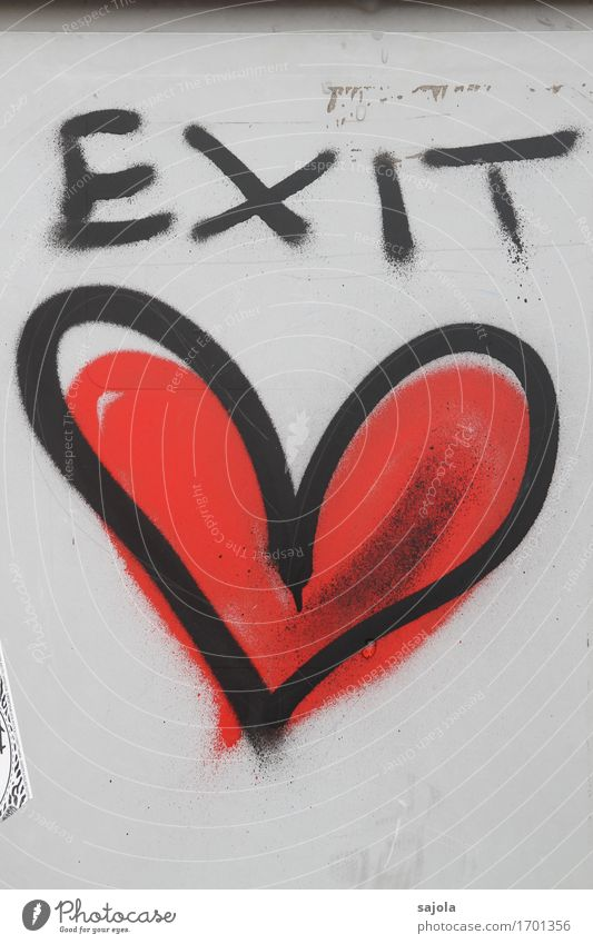 EXIT <3 Art Graffiti Wall (barrier) Wall (building) Sign Characters Heart Red Black Love Infatuation Lovesickness Emotions exit Exit route Heart-shaped sprayed