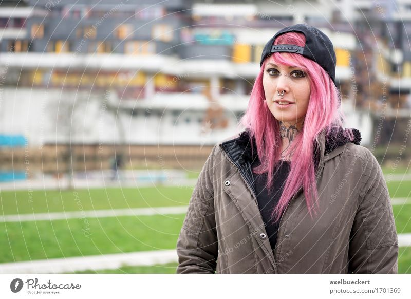 woman with pink hair at run-down housing estate Human being Woman Youth (Young adults) City Young woman 18 - 30 years Adults Feminine Lifestyle Building Pink