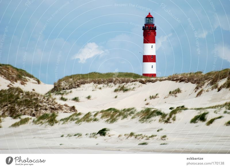 Amrum Kitsch Colour photo Day Panorama (View) Nature Landscape Sand Sky Clouds Wind Grass Bushes Lighthouse Beach dune Large