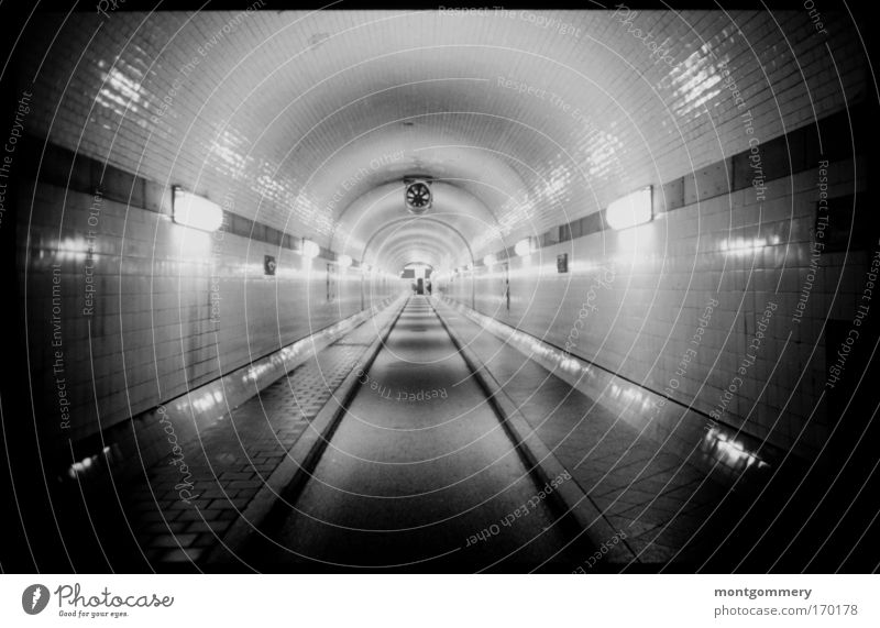 old Elbe tunnel Hamburg Black & white photo Interior shot Underwater photo Lomography Holga Deserted Artificial light Contrast Reflection Central perspective