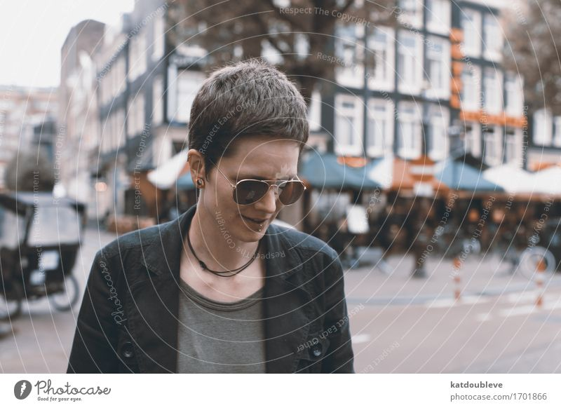 Amsterdam Human being Feminine Androgynous Cool (slang) Serene Calm Resolve Leisure and hobbies Independence Reliability Sunglasses Colour photo