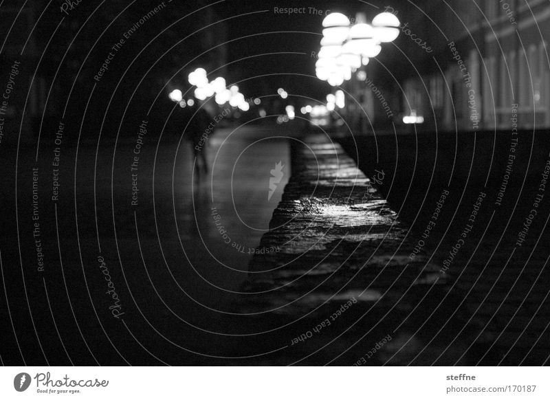 Human being City Calm Loneliness Masculine Threat Creepy Downtown Black & white photo Old town Outskirts Town Chemnitz Return Pedestrian precinct Party night