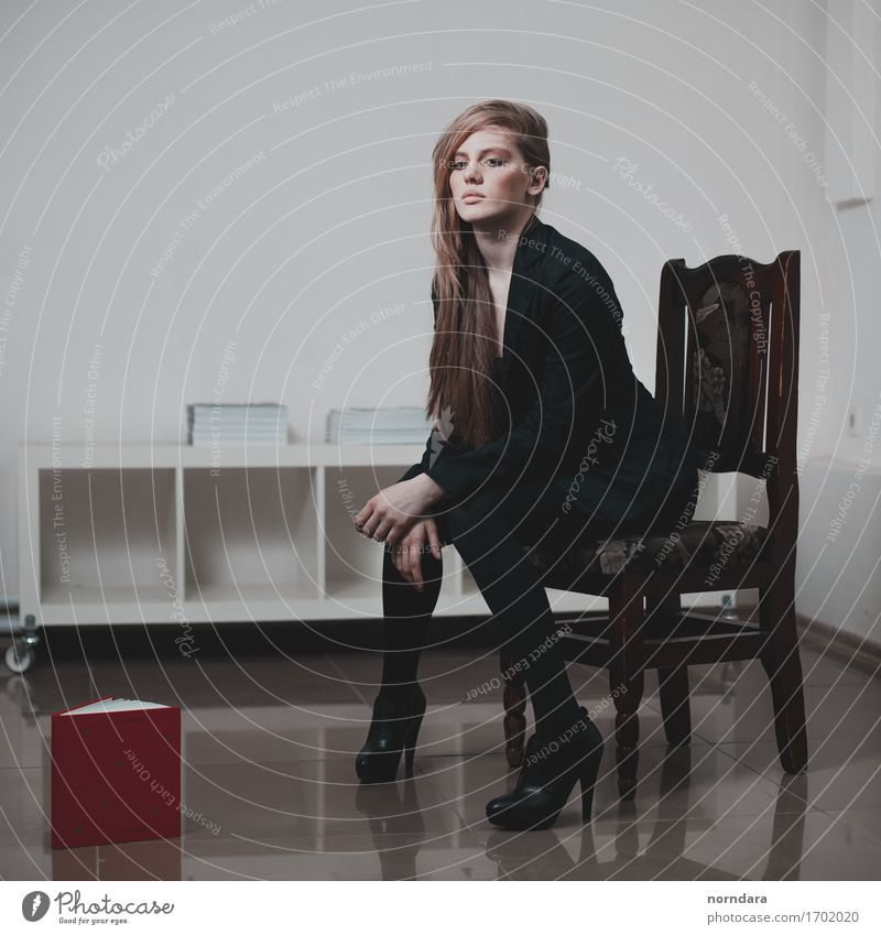 blonde in black Flat (apartment) Interior design Chair Book Bookshop Feminine Young woman Youth (Young adults) Woman Adults Body Legs 1 Human being Fashion