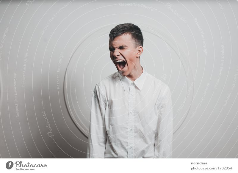 Screaming boy Human being Youth (Young adults) White Young man Loneliness Emotions Wild Crazy Mouth Broken Might Teeth Anger Shirt Force