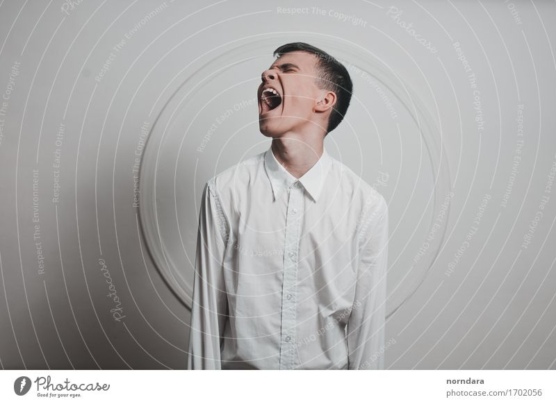 Screaming boy Human being Youth (Young adults) White Young man 18 - 30 years Adults Masculine Wild Fear 13 - 18 years Crazy Dangerous Mouth Threat Fear of death