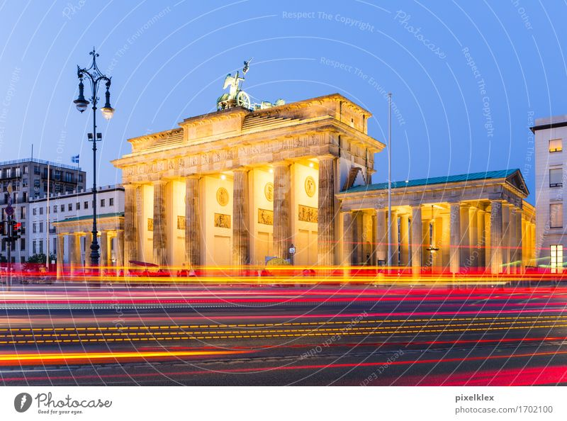 Brandenburg Gate at night Vacation & Travel Tourism Freedom Sightseeing City trip Night life Berlin Germany Town Capital city Downtown Deserted Places