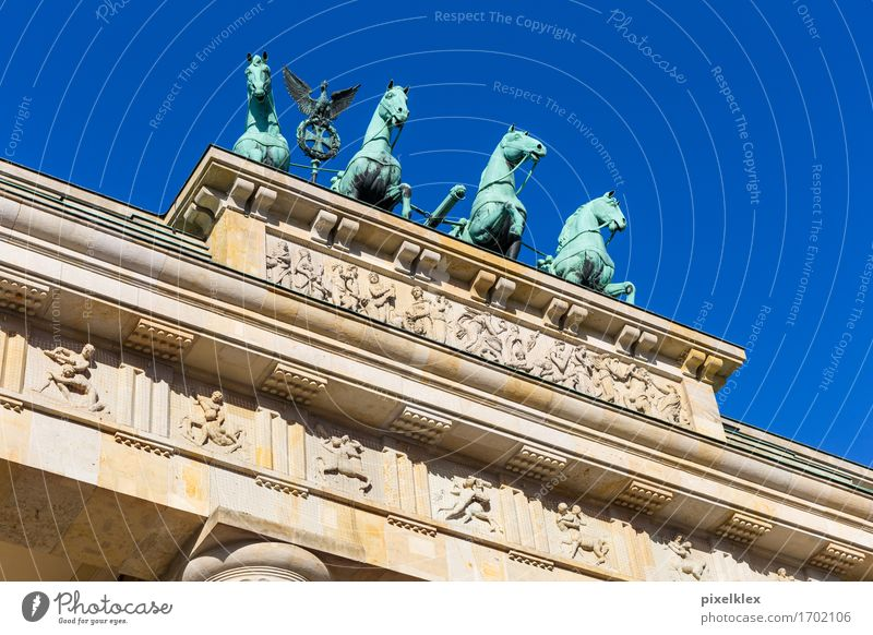 Quadriga at the Brandenburg Gate Sculpture Berlin Germany Town Capital city Downtown Places Manmade structures Building Architecture Roof Tourist Attraction