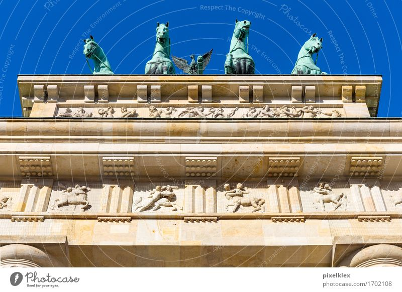 Quadriga at the Brandenburg Gate Berlin Germany Town Capital city Downtown Manmade structures Building Architecture Roof Tourist Attraction Landmark Monument
