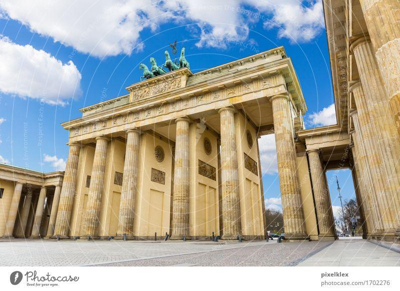 Brandenburg Gate Berlin Germany Town Capital city Downtown Deserted Places Manmade structures Building Architecture Column Tourist Attraction Landmark Monument