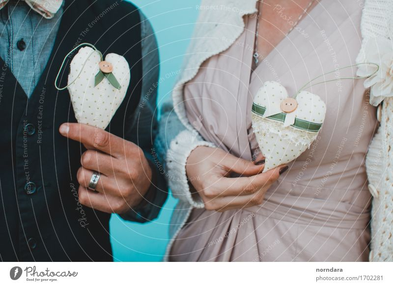 Two textile hearts in hands Joy Valentine's Day Wedding Family & Relations Couple Partner Life Hand Fingers 2 Human being Toys Heart Turquoise Happiness