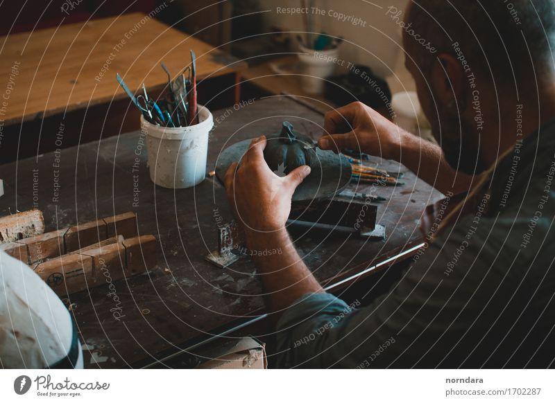 sculpture workshop Lifestyle Hallowe'en Human being Masculine Arm Hand Fingers Art Artist Painter Work of art Sculpture Esthetic Design Workplace