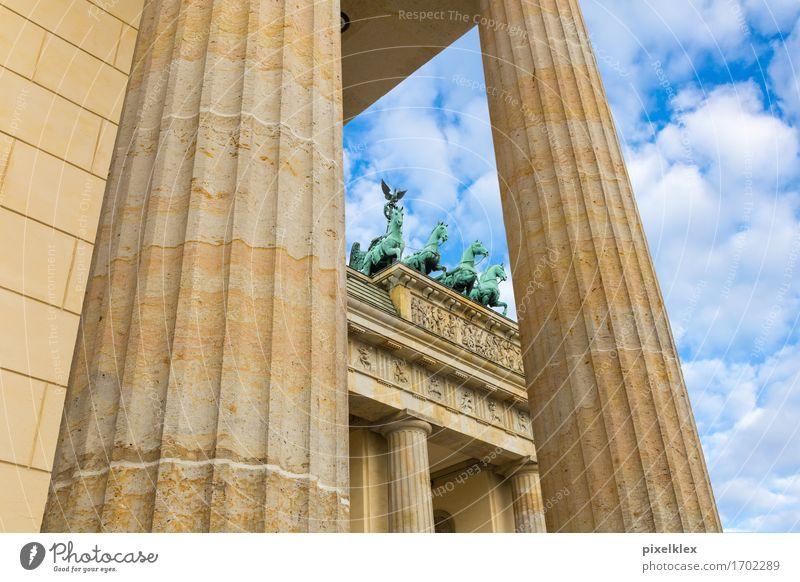 Quadriga at the Brandenburg Gate Berlin Germany Town Capital city Downtown Manmade structures Building Architecture Roof Column Tourist Attraction Landmark