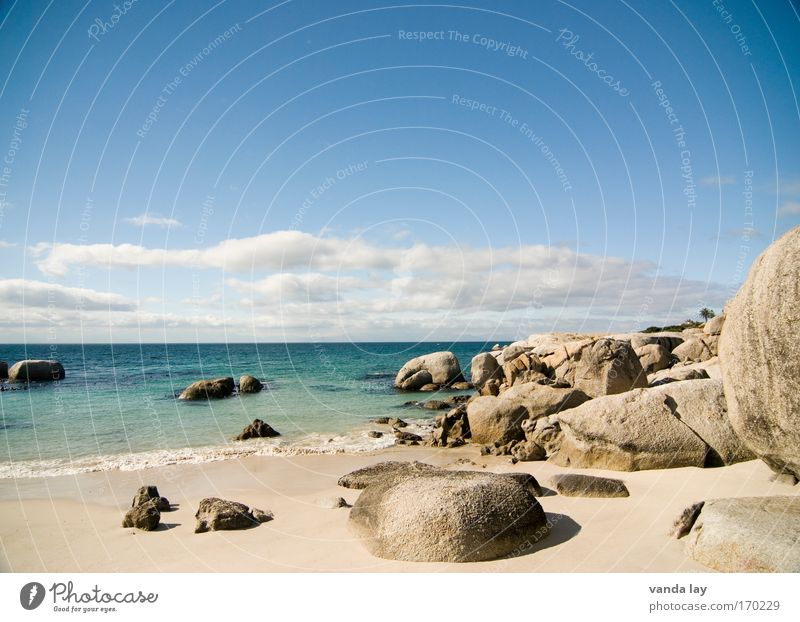 Boulders Beach Colour photo Exterior shot Deserted Copy Space top Shadow Vacation & Travel Tourism Far-off places Freedom Summer Summer vacation Ocean Sky