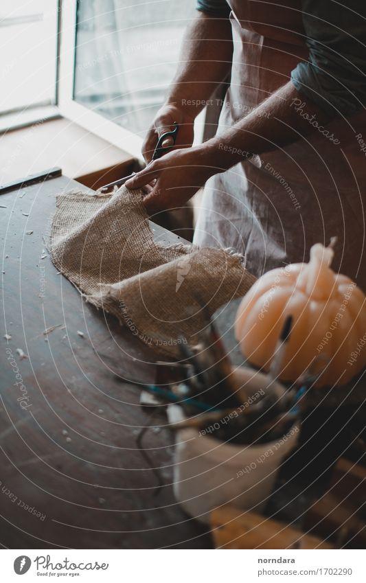 sculptor's workshop Leisure and hobbies Handicraft Model-making Handcrafts Man Adults Fingers Make Workplace Workshop Fabric thread Hallowe'en Brush Scissors