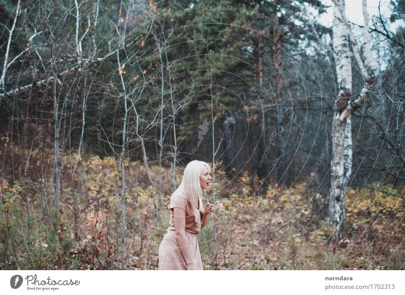 a lost girl in the forest Human being 1 18 - 30 years Youth (Young adults) Adults Environment Nature Plant Tree Grass Bushes Moss Garden Park Forest Hunting