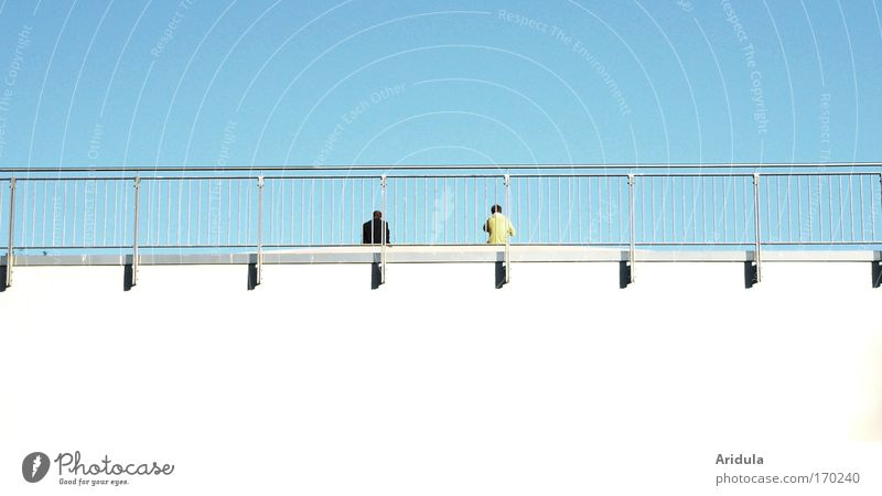 spacers Colour photo Exterior shot Abstract Copy Space bottom Day Light Shadow Summer Human being Masculine Friendship Couple 2 Sky Cloudless sky Sun Bridge