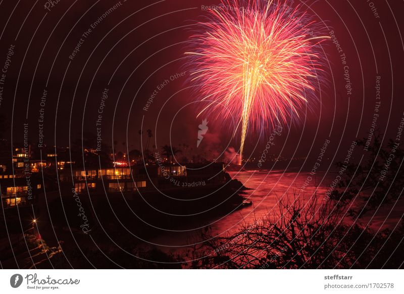 Laguna Beach fireworks Vacation & Travel Summer Ocean Landscape Red Joy Black Yellow Architecture Emotions Coast Feasts & Celebrations Party Pink Park