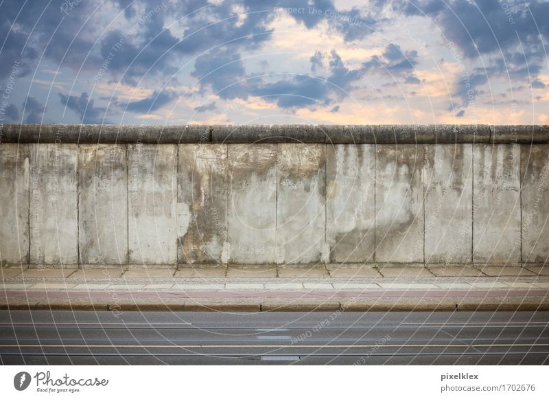 Sky City Old Street Wall (building) Berlin Wall (barrier) Gray Freedom Stone Dirty Tall Concrete Threat Broken Historic