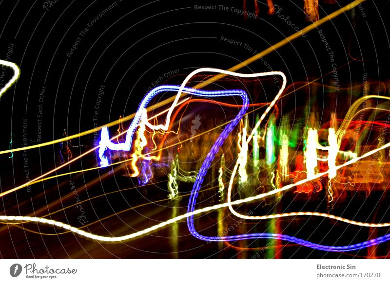 light worlds Colour photo Exterior shot Experimental Abstract Copy Space top Night Contrast Light (Natural Phenomenon) Long exposure Blur Night life Line
