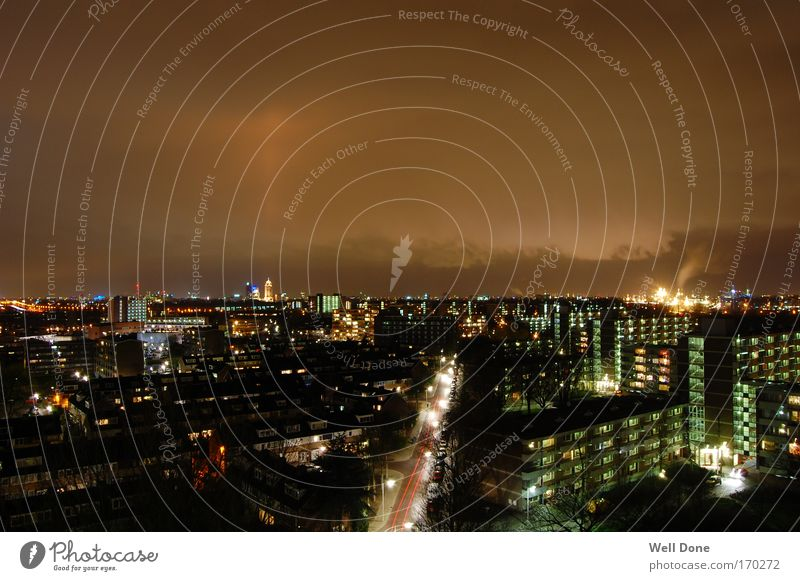 Amsterdam/Diemen diems Netherlands Town Outskirts House (Residential Structure) High-rise Industrial plant Tower Bright Long exposure Suburb Light Colour photo