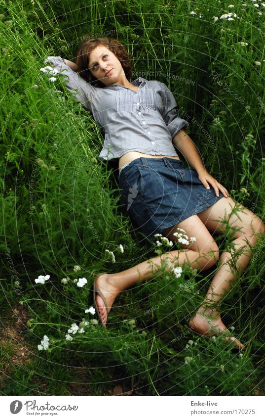 soft-landed Exterior shot Bird's-eye view Full-length Upward Happy Freedom Young woman Youth (Young adults) Nature Plant Summer Foliage plant Meadow Clothing